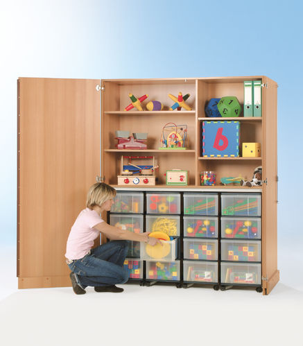 InBox Garagenschrank, 4 hohe Container L, Transparent